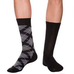 Lot de 2 mi-chaussettes noires à losanges Homme-DIM
