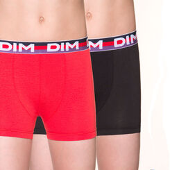 Lot de 2 boxers rouges en coton stretch DIM Boy-DIM