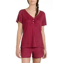 T-shirt de pyjama manches courtes rouge en lyocell Femme-DIM