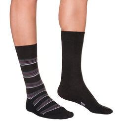 Lot de 2 mi-chaussettes noires à rayures violettes Homme-DIM