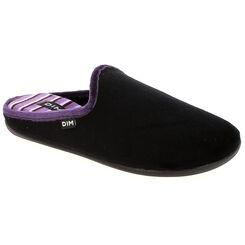 Pantoufles en velours plates noires intérieur violet Femme-DIM