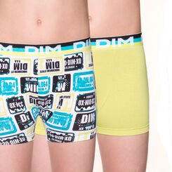 Lot de 2 boxers coloris absinthe en coton stretch DIM Boy-DIM