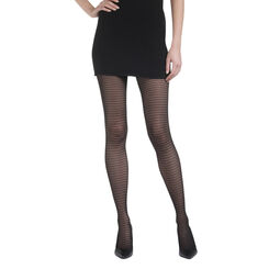 Collant noir tulle géométrique Madame So Daily 32D-DIM