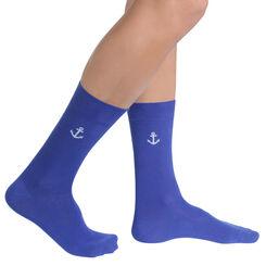 Chaussettes bleu électrique à motif ancre Homme-DIM