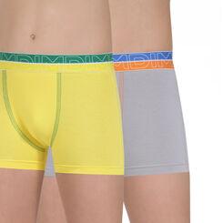 Lot de 2 boxers jaune et gris en coton stretch DIM Boy-DIM