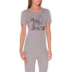 T-shirt de pyjama manches courtes gris chiné Femme-DIM