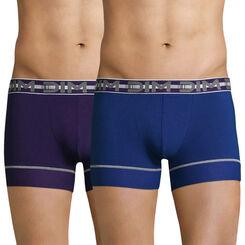Lot de 2 boxers bleu et violet 3D Flex Stay & Fit -DIM