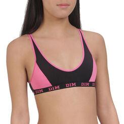 Brassière de sport rose et noire DIM Girl-DIM