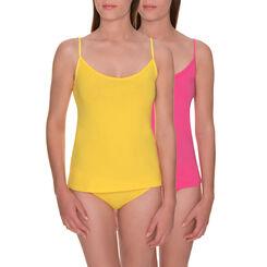 Lot de 2 caracos jaune flashy et rose en coton Les Pockets-DIM