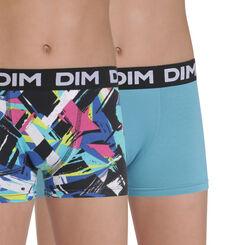 Lot de 2 boxers bleu et imprimé en coton stretch DIM Boy-DIM