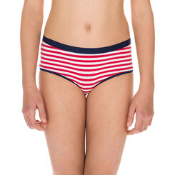 Shorty rouge et blanc rayé coton stretch - DIM Girl-DIM
