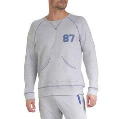 Sweatshirt de pyjama gris clair et bleu marine Homme-DIM