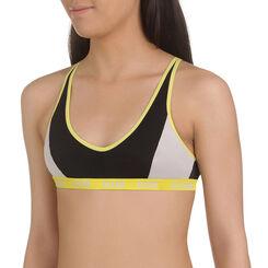 Brassière de sport noire et jaune DIM Girl-DIM