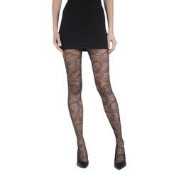 Collant noir ramage Madame So Chic 22D-DIM