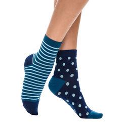 Lot de 2 paires de socquettes à rayures et à pois bleu Femme-DIM