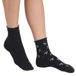Lot de 2 paires de socquettes noires motif palmiers Femme-DIM