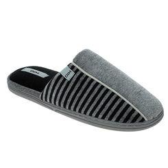 Chaussons pantoufles gris rayés en velours Homme-DIM