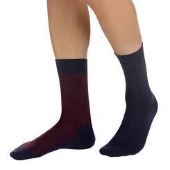 Lot de 2 paires de chaussettes bleu nuit à rayures Homme-DIM