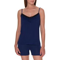 Caraco de pyjama bleu encre avec dentelle noire Femme-DIM