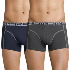 Lot de 2 boxers en coton stretch bleu et gris EcoDIM Mode-DIM