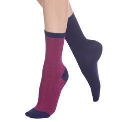 Lot de 2 paires de chaussettes bleues à rayures Femme-DIM