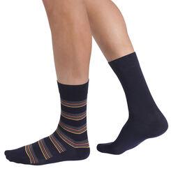 Lot de 2 chaussettes bleues à rayures oranges Homme-DIM