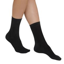 Lot de 2 paires de chaussettes noires Light Coton Femme-DIM