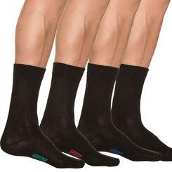 Lot de 4 paires de chaussettes noires en coton Homme-DIM