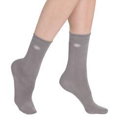 Mi-chaussettes anthracites motif flocons Femme-DIM