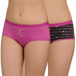 Lot de 2 shortys noir et violet DIM Girl-DIM