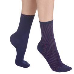 Lot de 2 paires de chaussettes bleu nuit à plumetis Femme-DIM