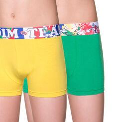 Lot de 2 boxers jaune et vert édition rugby DIM Boy-DIM