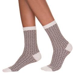 Mi-chaussettes cosy vanilles motif jeu de points Femme-DIM