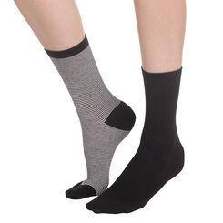 Lot de 2 paires de chaussettes noires à rayures Femme-DIM