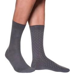 Lot de 2 mi-chaussettes anthracites motif plumetis Homme-DIM