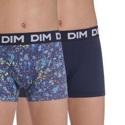 Lot de 2 boxers bleu navy et imprimé coton stretch DIM Boy-DIM