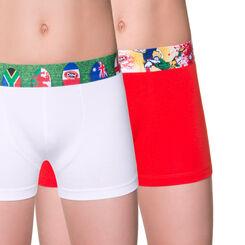 Lot de 2 boxers blanc et rouge édition rugby DIM Boy-DIM