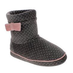 Chaussons bottes en velours gris à pois roses Femme-DIM