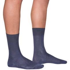 Lot de 2 chaussettes bleu foncé fil d'Ecosse Homme-DIM