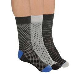 Lot de 3 paires de chaussettes anthracite à motifs Homme-DIM