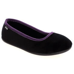 Chaussons ballerines noirs en velours Femme-DIM
