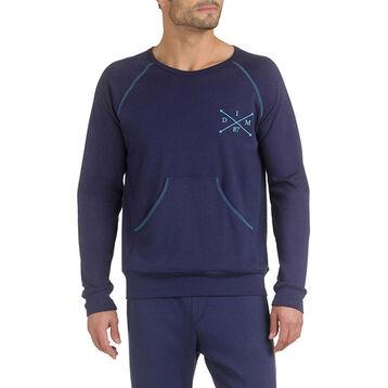 Sweatshirt de pyjama bleu marine 100% coton Homme-DIM