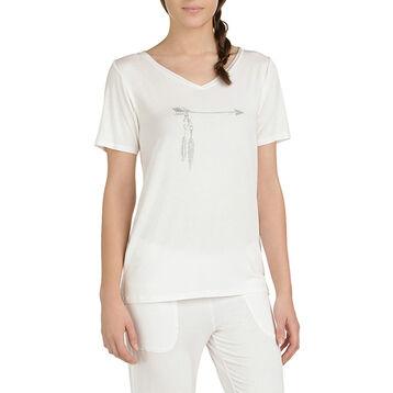 T-shirt de pyjama manches courtes nacre Femme-DIM