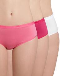 Lot de 3 boxers rouge, rose et blanc Les Pockets EcoDIM-DIM