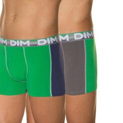 Lot de 2 boxers vert, bleu et gris 3D Flex Dynamic-DIM