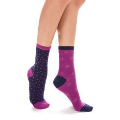 Lot de 2 chaussettes bleues et lilas à pois lurex Femme-DIM