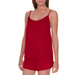 Caraco de pyjama soyeux à fines bretelles rouge coquelicot-DIM