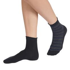 Lot de 2 paires de socquettes noires à rayures Femme-DIM