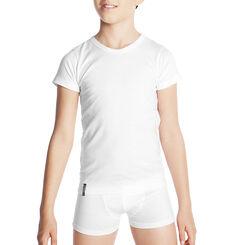 T-shirt blanc col en V 100% coton - DIM Boy-DIM