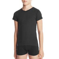 T-shirt noir col en V 100% coton - DIM Boy-DIM